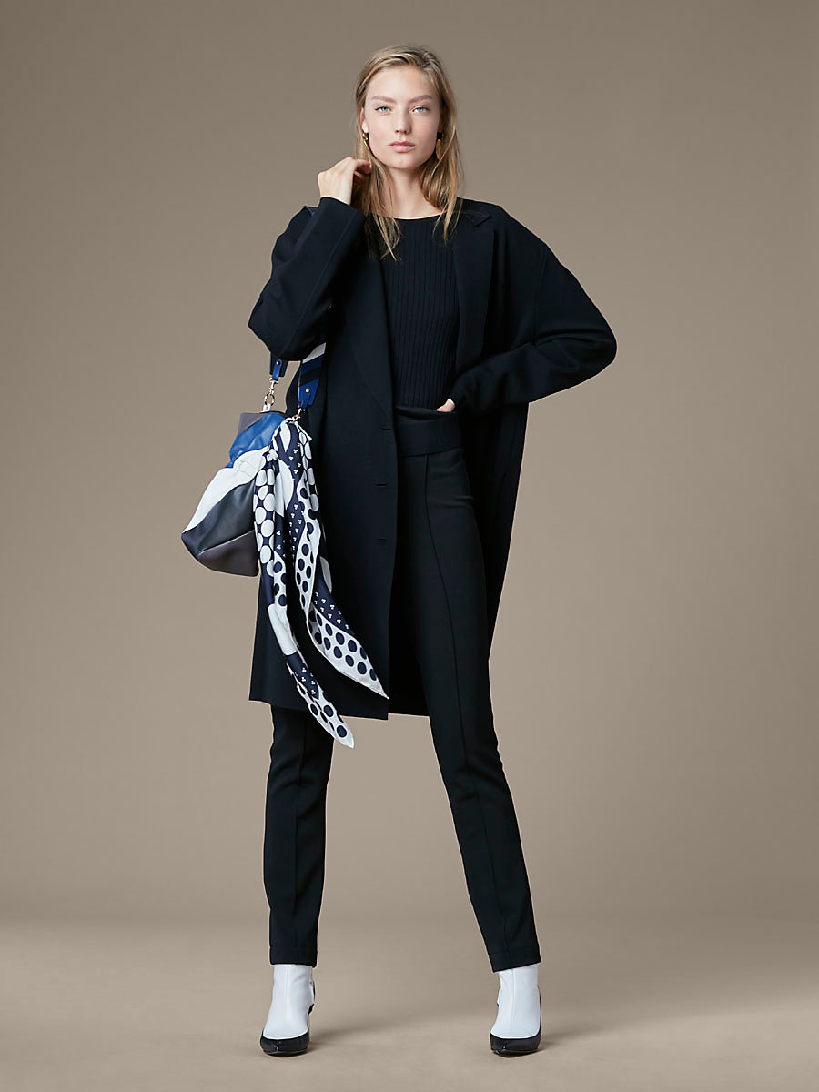 Long Sleeve Oversized Knit Coat in Black by DVF