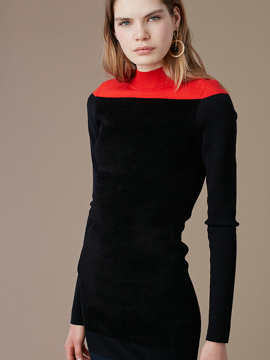 Mockneck Knit Midi Dress in Bright Red Combo by DVF