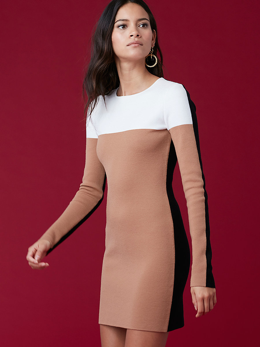 Crewneck Knit Dress in Camel/ Ivory by DVF