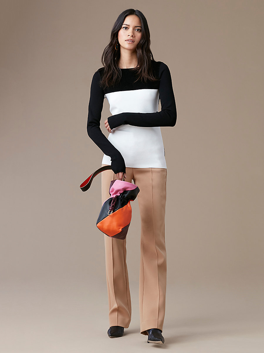 Colorblock Fitted Pullover in Black/ Ivory by DVF