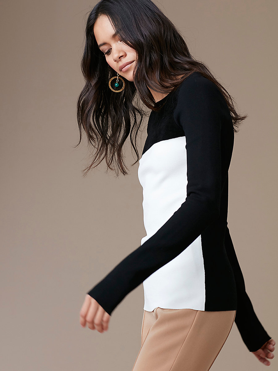 Color Block Fitted Pullover in Black/ Ivory by DVF
