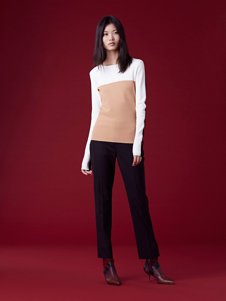 Colorblock Fitted Pullover in Camel/ Ivory by DVF