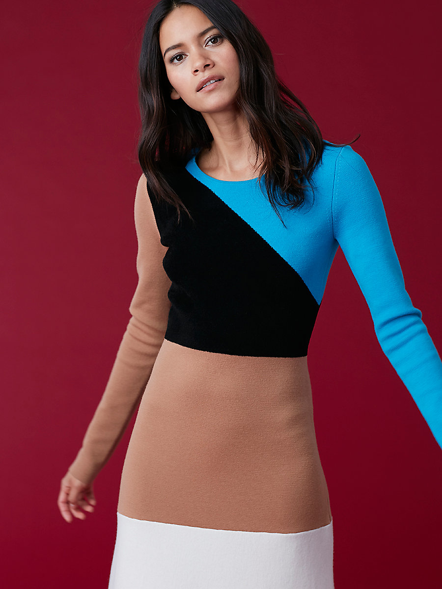 Crewneck Flare Knit Dress in Cerulean Multi by DVF