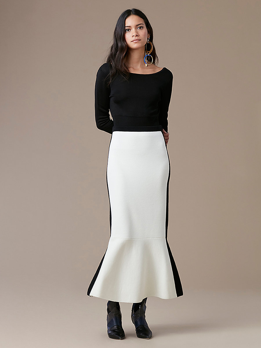 Knit Flare Skirt in Ivory/ Black by DVF
