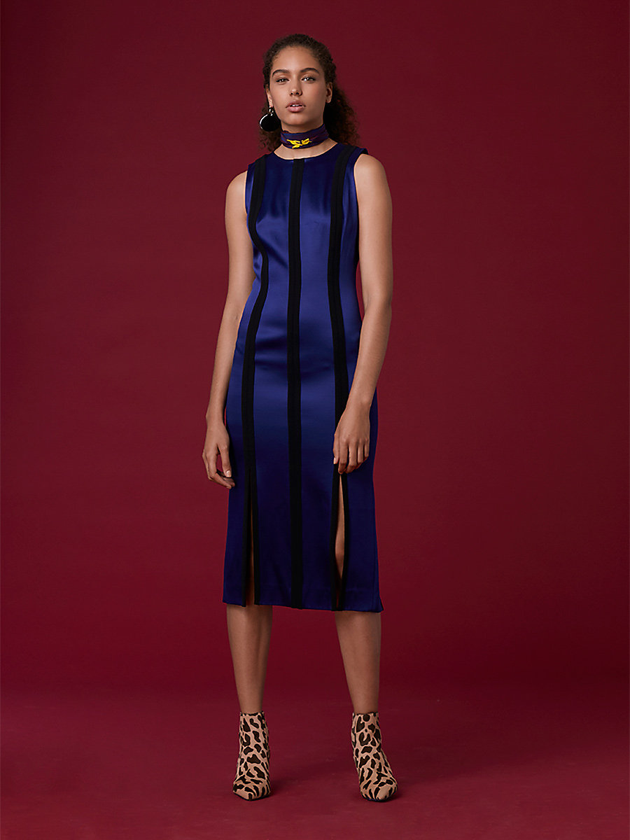 Tailored Paneled Dress in Deep Violet/ Black by DVF
