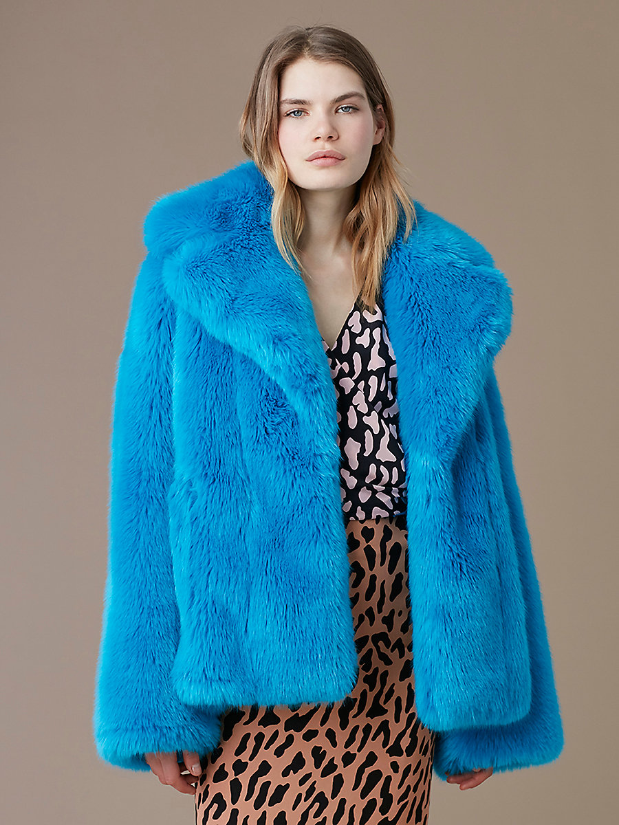 Faux Fur Collared Jacket in Cerulean by DVF