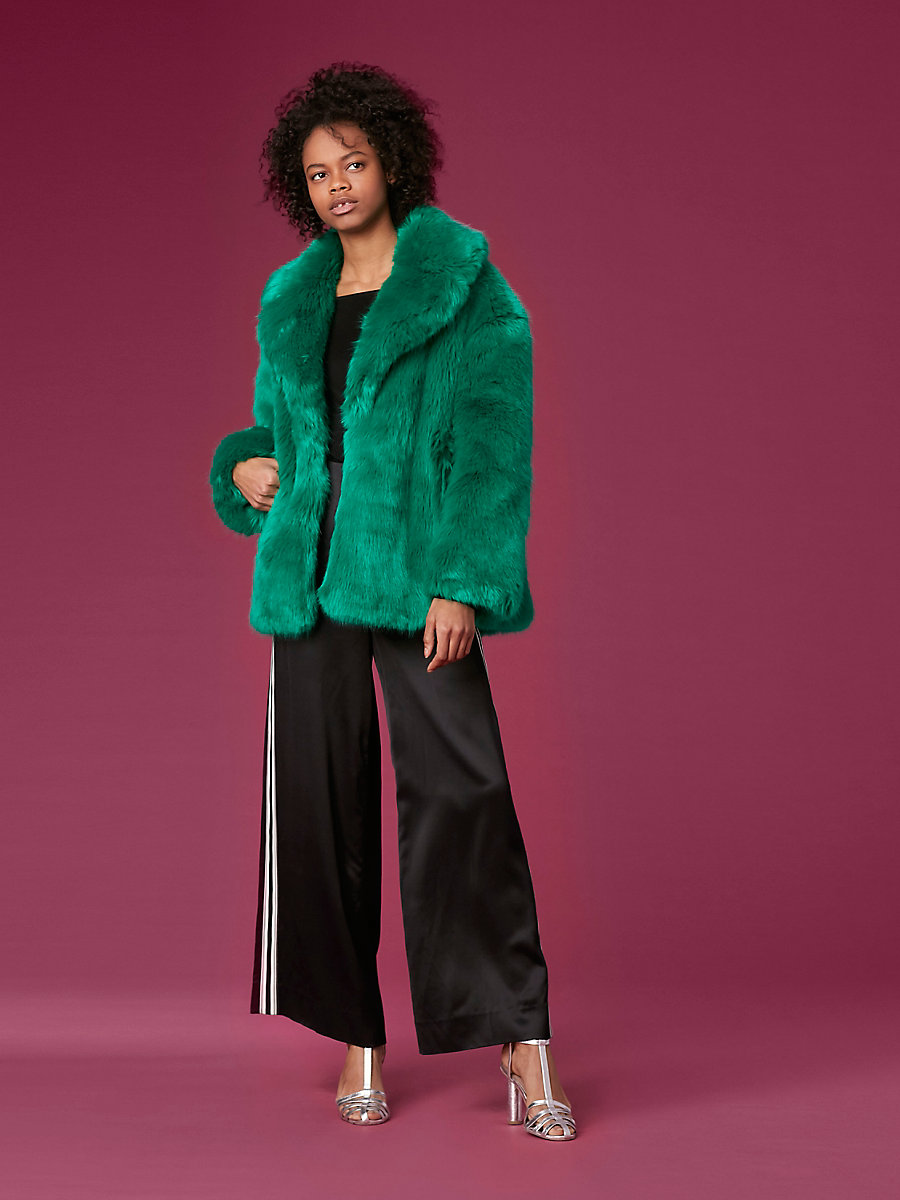 Faux Fur Collared Jacket in Evergreen by DVF