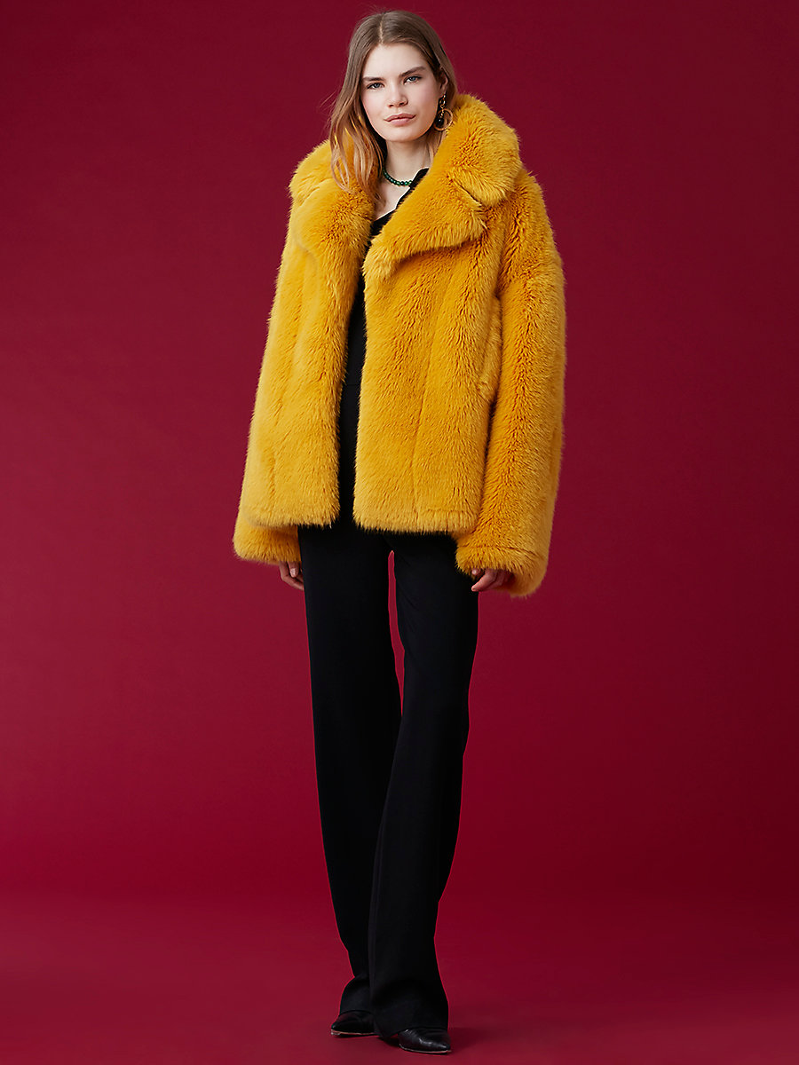 Faux Fur Collared Jacket in Yellow by DVF