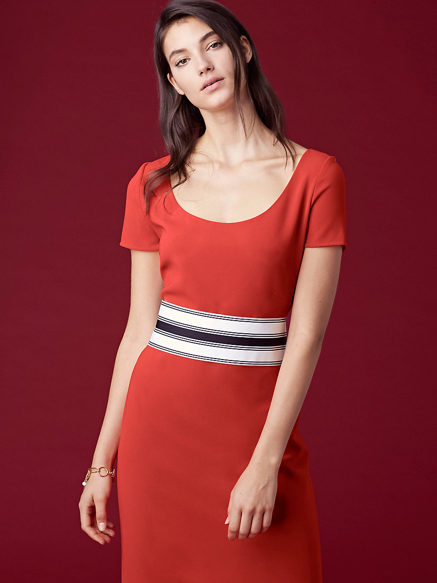 Short-Sleeve Belted Tailored Dress in Bright Red by DVF