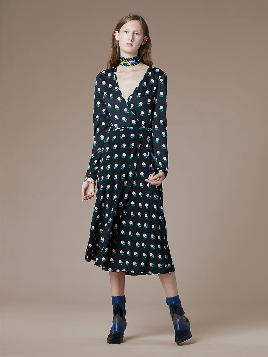 Long-Sleeve Flare Wrap Dress in Casimir Dot Black by DVF