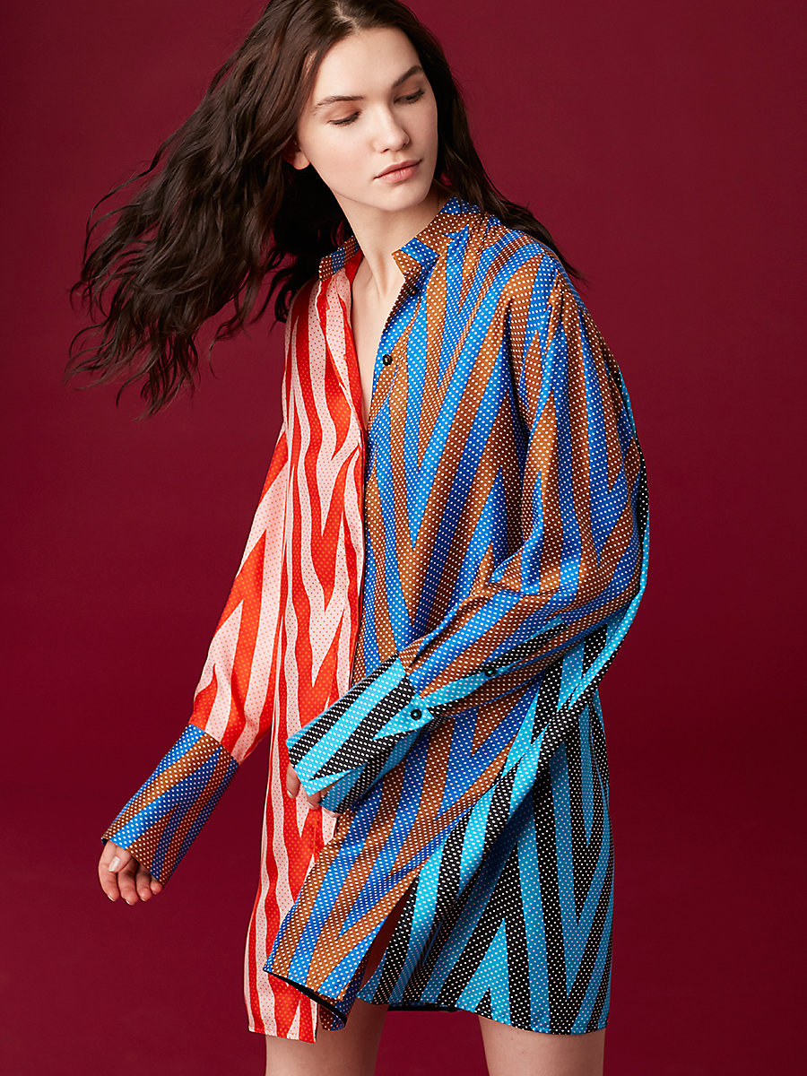 Shirt Dress in Odeon Chevron Combo by DVF