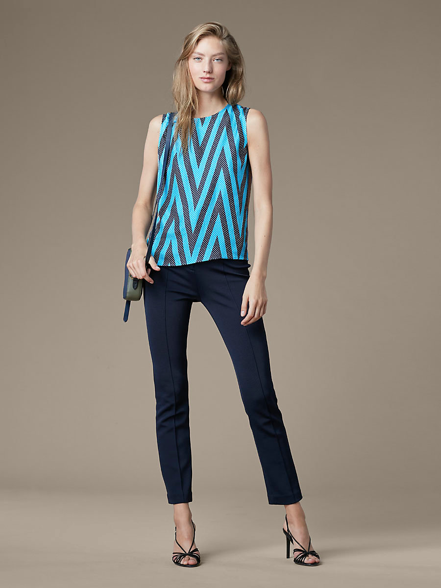 Printed Shell in Odeon Chevron Cerulean by DVF