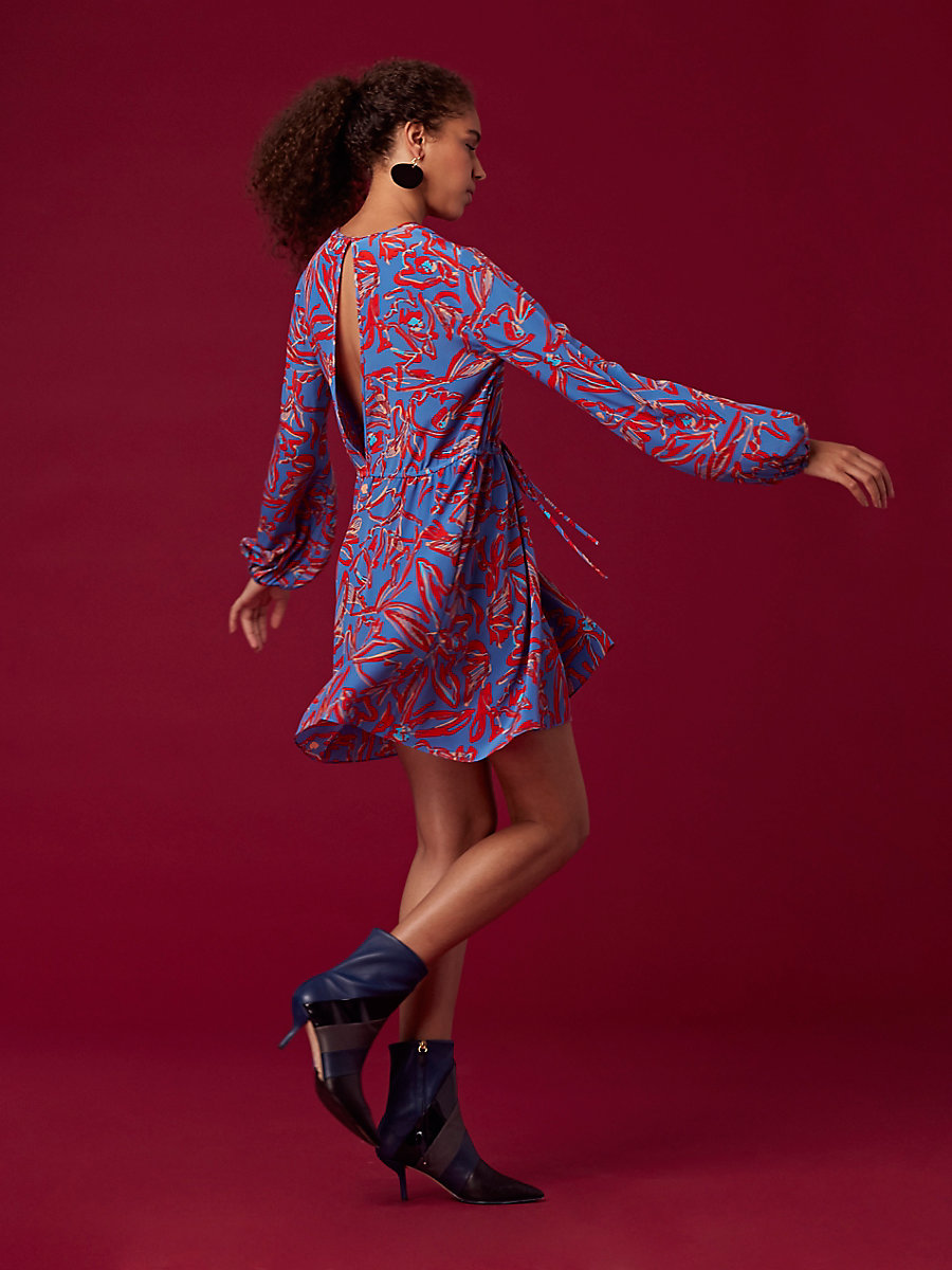 Crew Neck Mini Dress in Elsden Denim by DVF