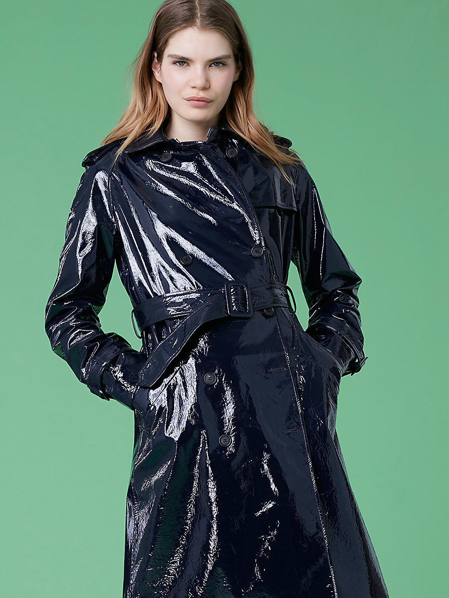 Leather Trench in Alexander Navy by DVF
