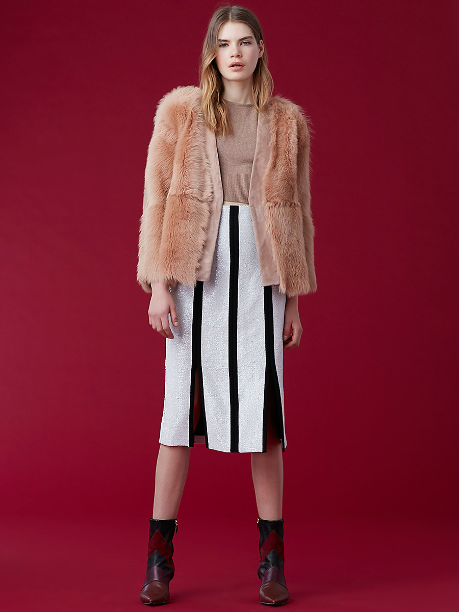 Long-Sleeve Fur Wrap Jacket in Camel/ Toffee by DVF