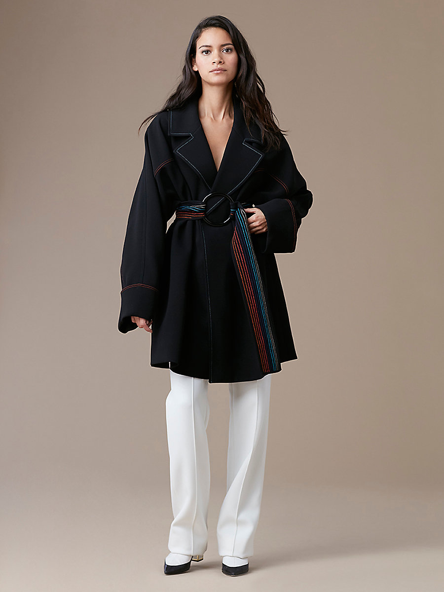 Collared Belted Trench in Black by DVF