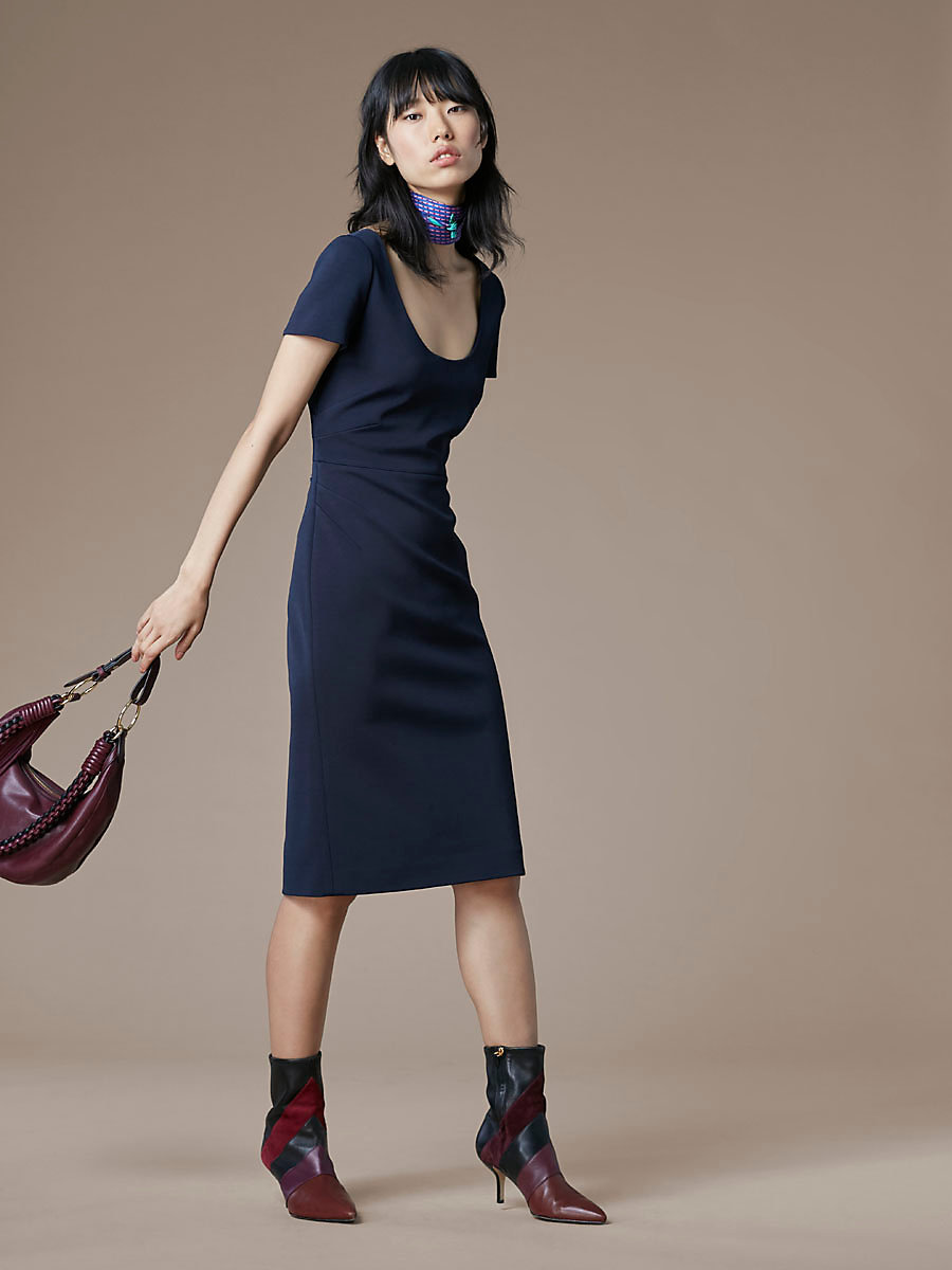 Scoop Neck Midi Dress in Alexander Navy by DVF