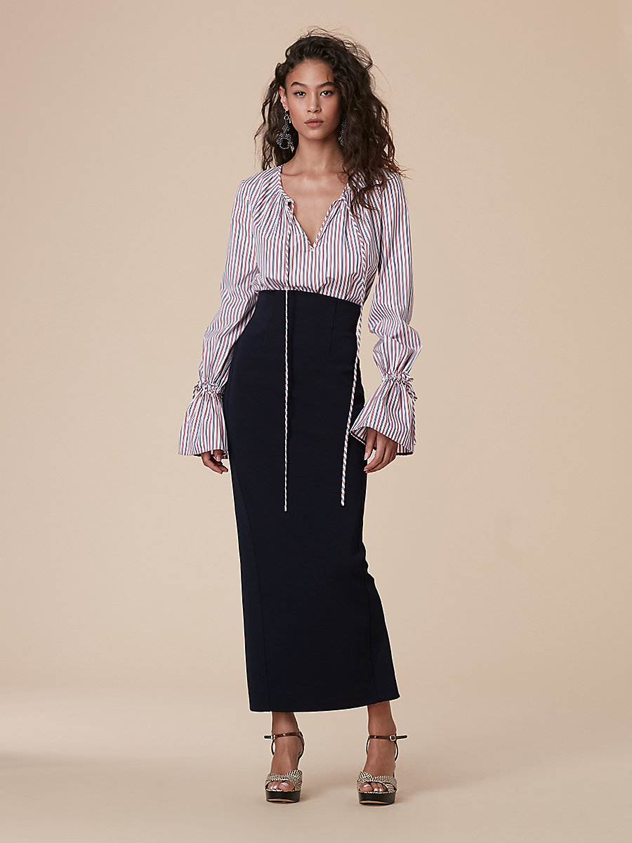 High Waisted Fitted Midi Skirt | Landing Pages by DVF