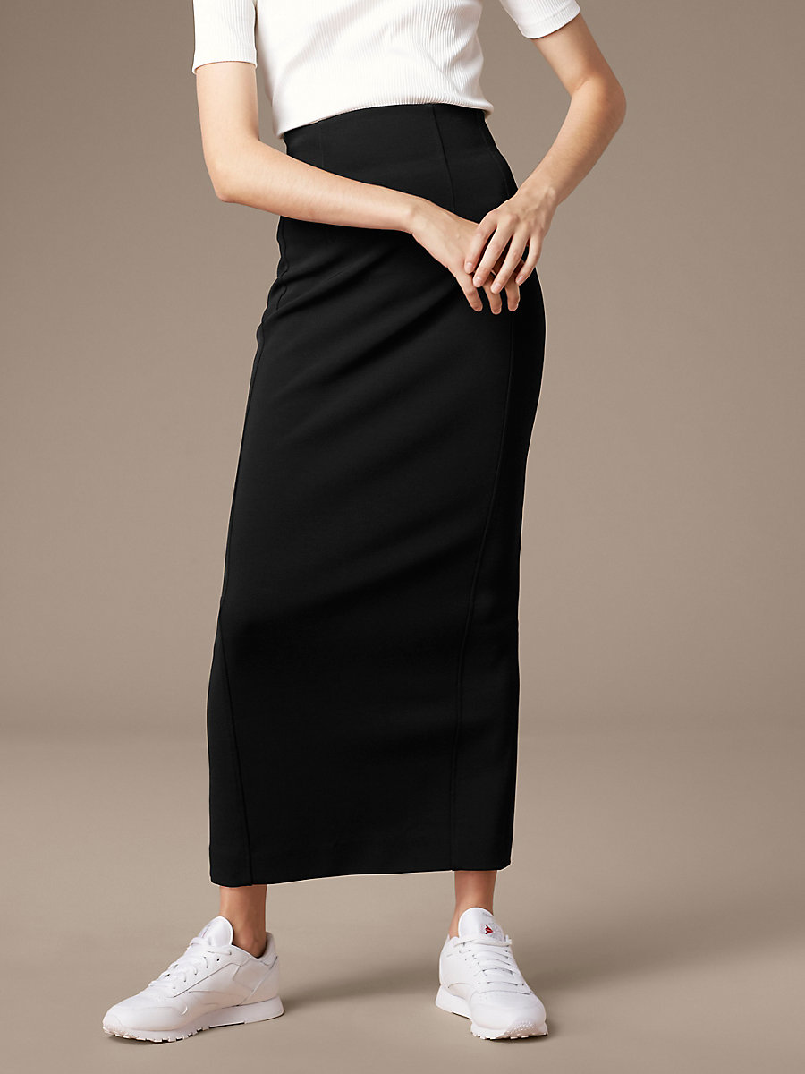 High Waisted Fitted Midi Skirt in Black by DVF