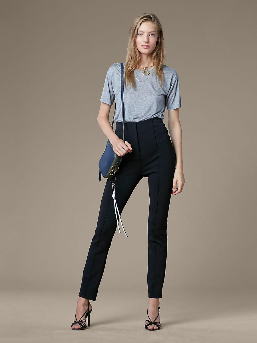 High Waisted Skinny Pant in Black by DVF