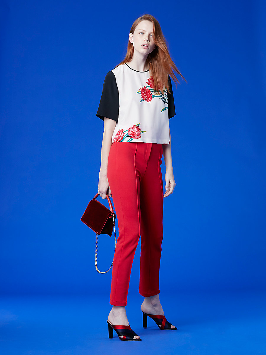 High Waisted Skinny Pant in Lipstick by DVF