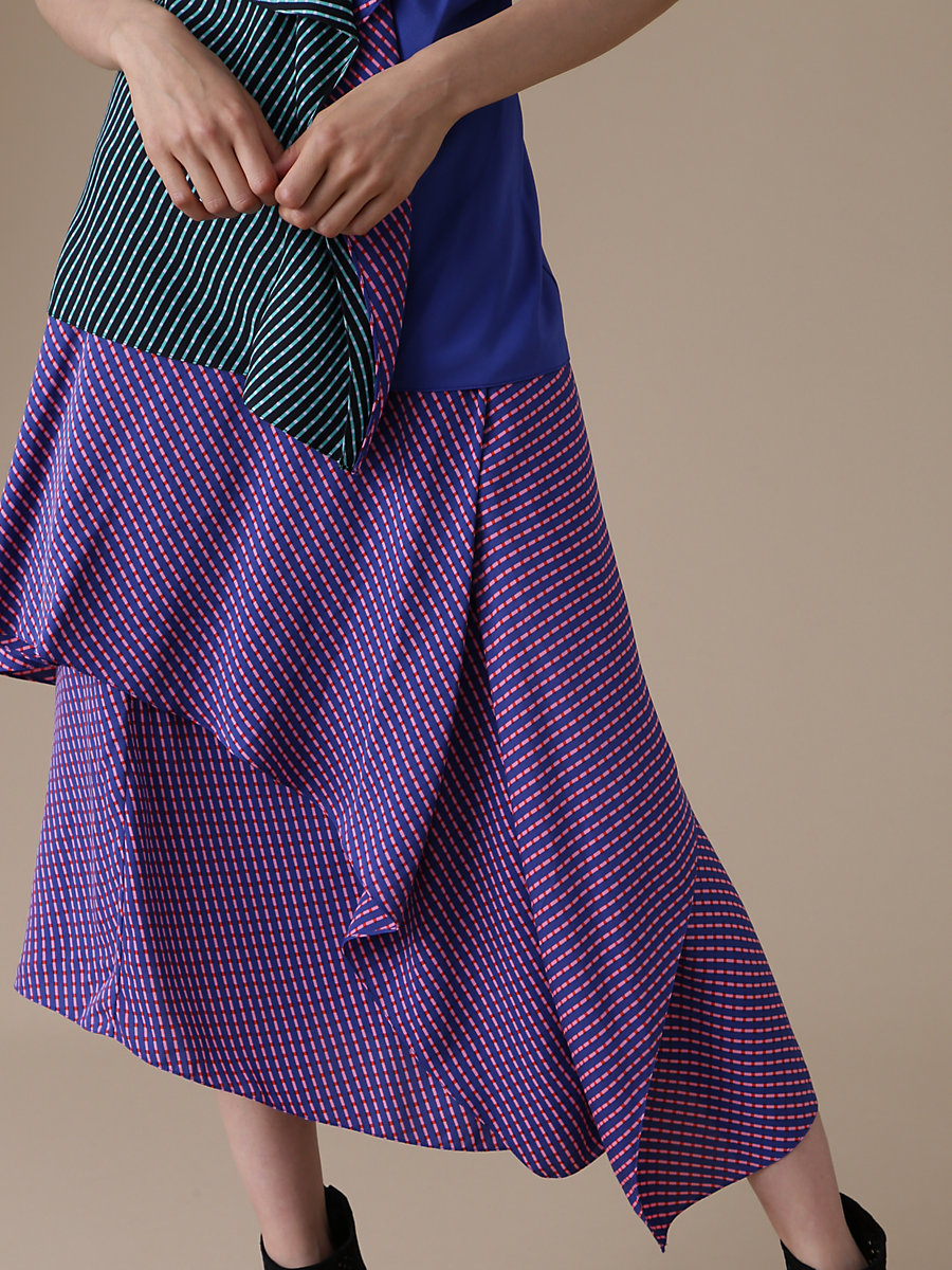 Front Ruffle Midi Skirt in Elba Royal by DVF