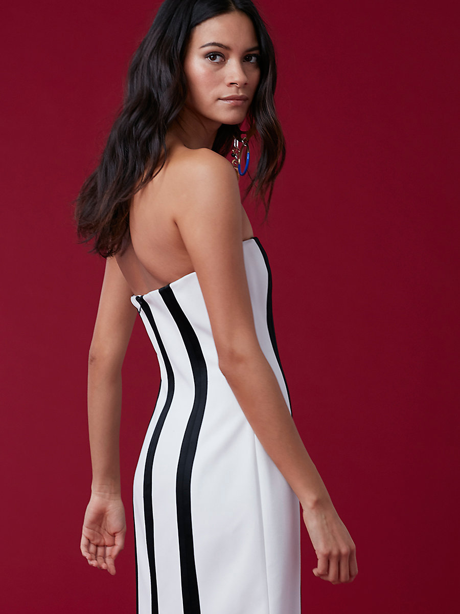 Strapless Structured Midi Dress in Ivory/ Black by DVF