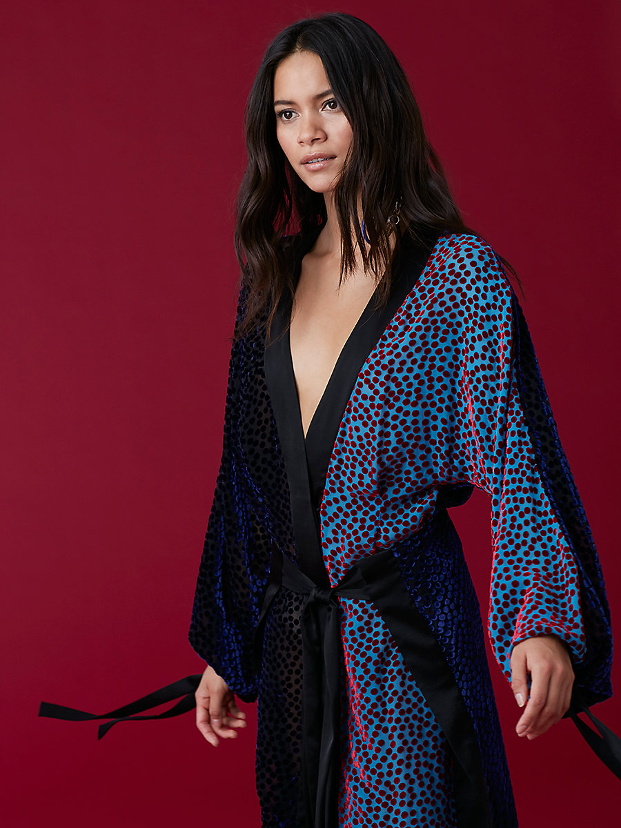 Velvet Burnout Kimono Dress in Deep Violet Multi by DVF