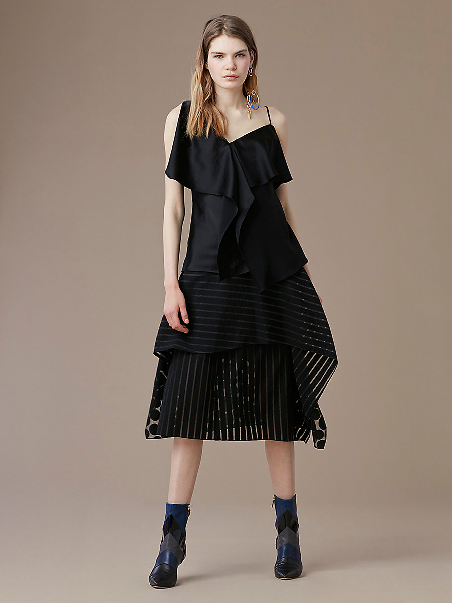 Asymmetric Ruffle Front Top in Black by DVF
