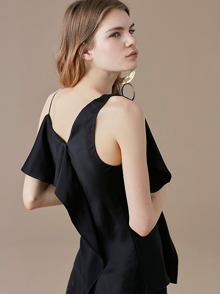 Asymmetric Ruffle Front Top