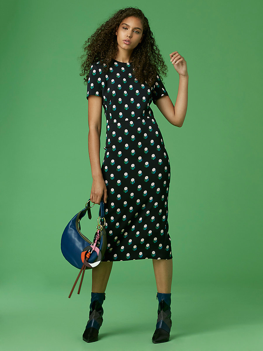 Crewneck Dress in Casimir Dot Black by DVF