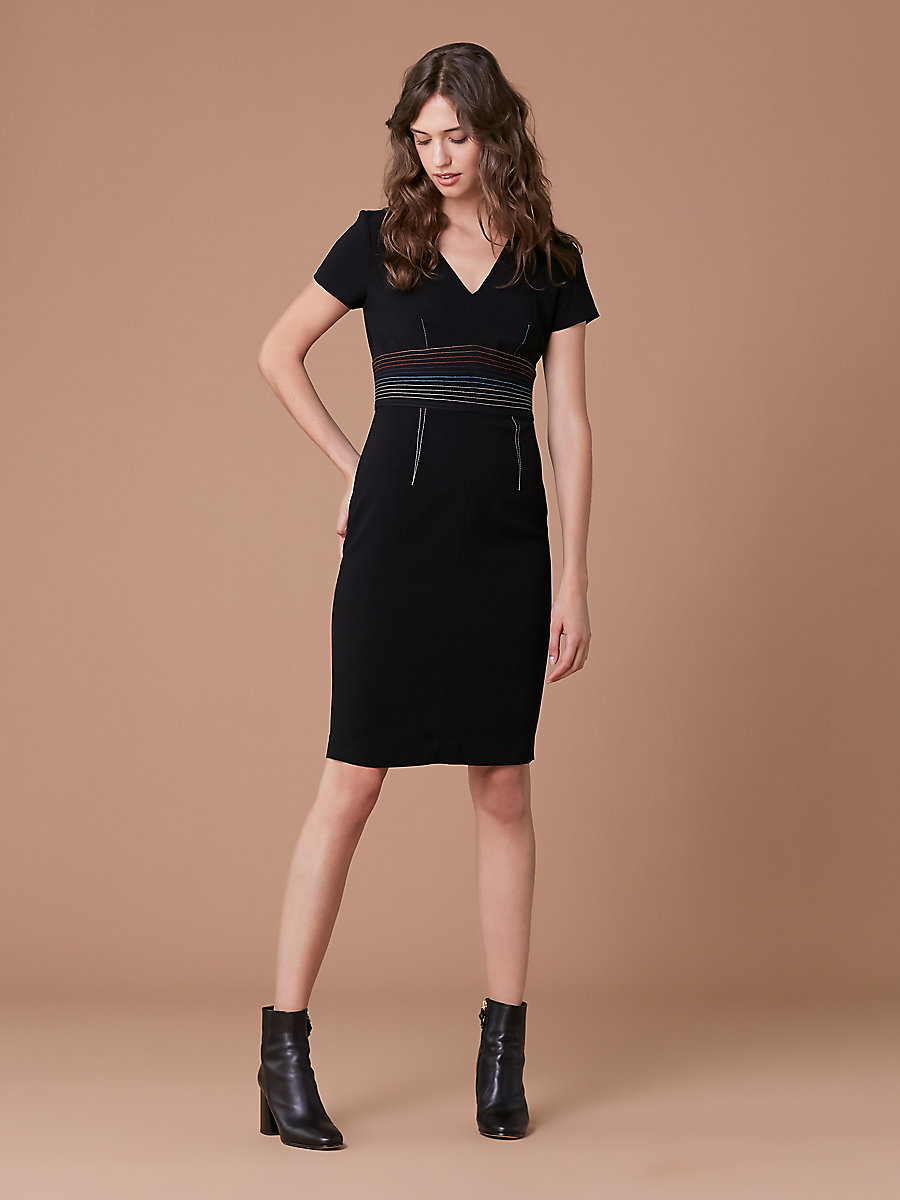 V-Neck Tailored Dress in Black by DVF