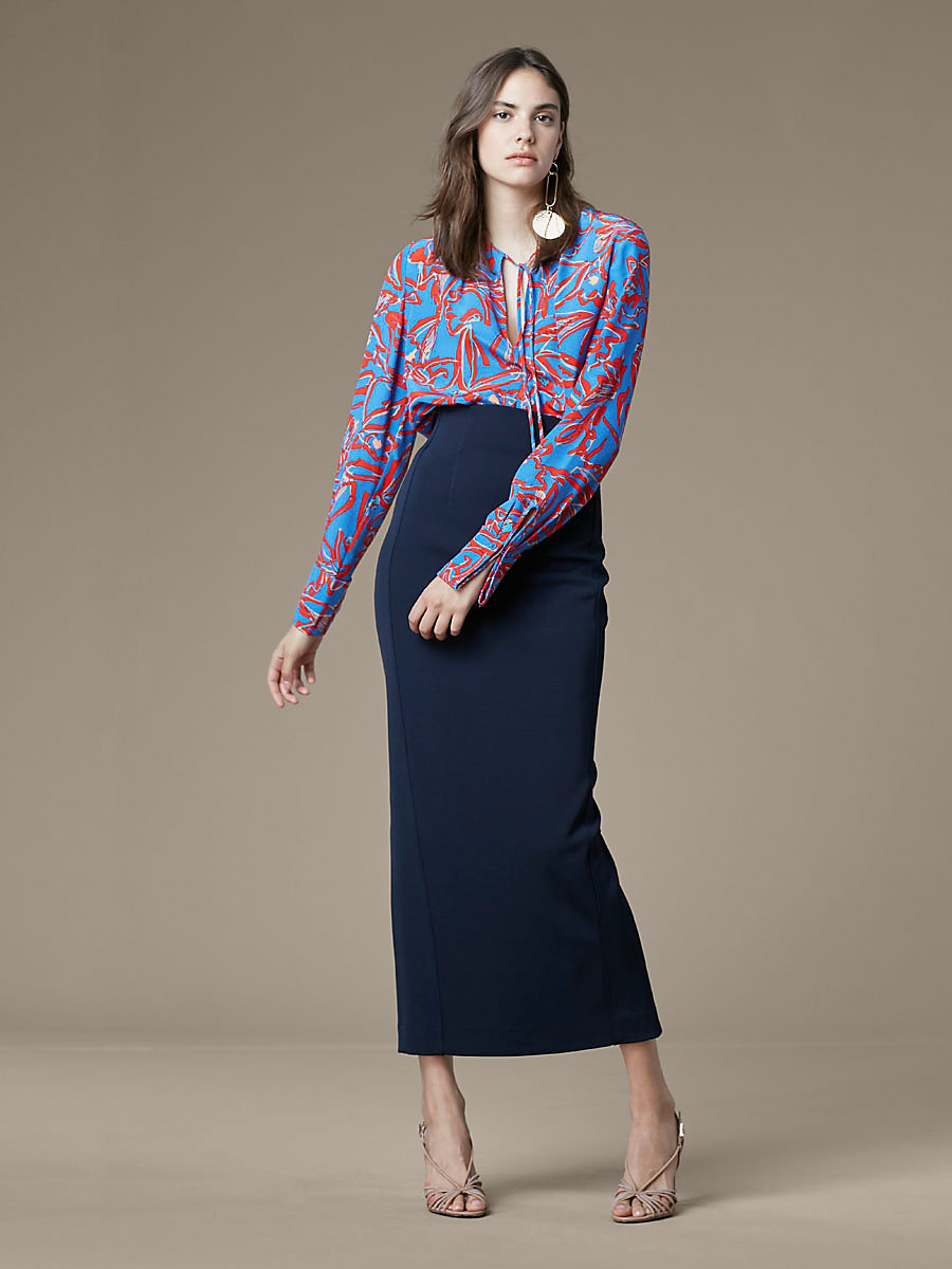 Tie Front Keyhole Blouse in Elsden Denim by DVF