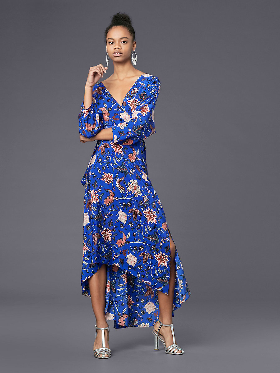 Long Sleeve Asymmetric Hem Dress in Canton Electric Blue by DVF