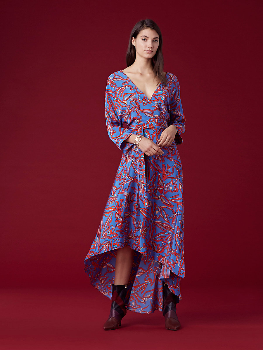 Long Sleeve Asymmetric Hem Dress in Elsden Denim by DVF