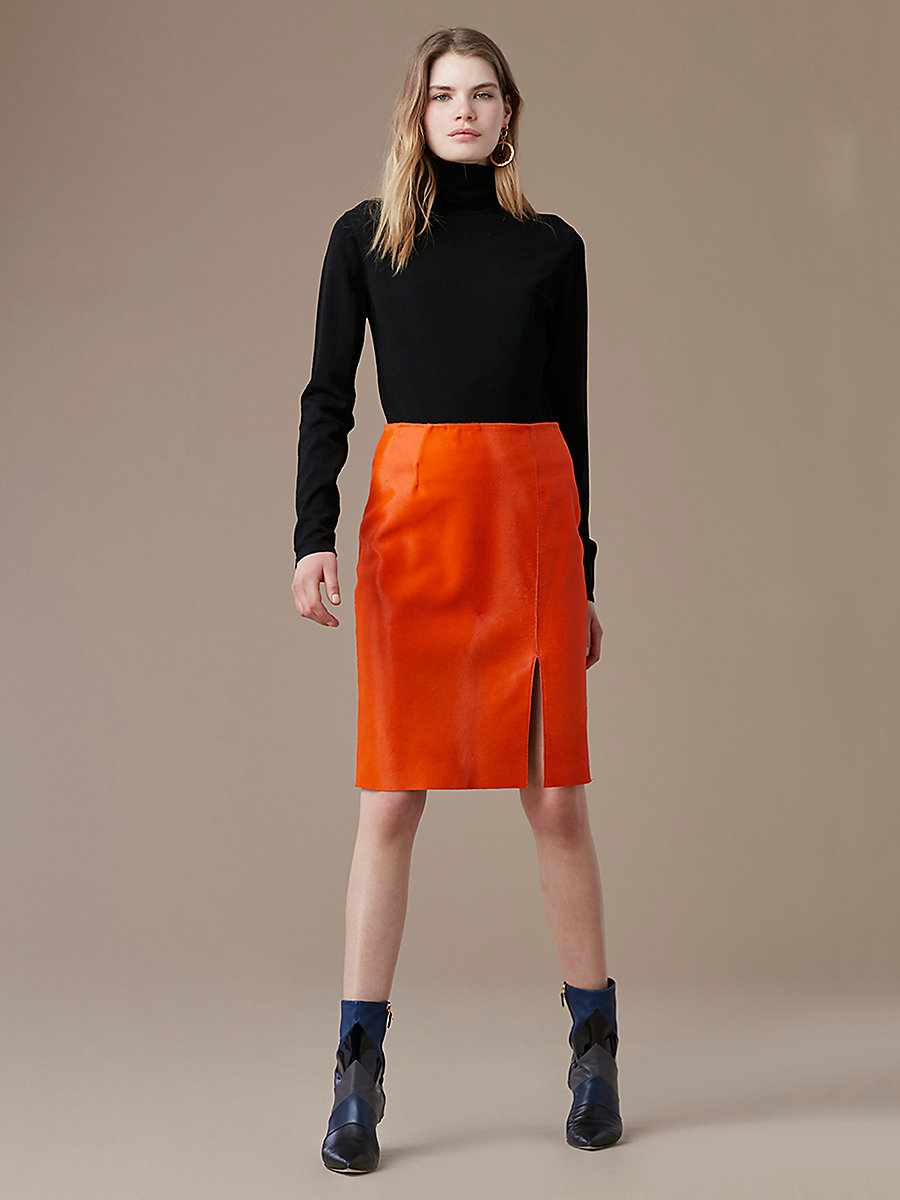 Fitted Calf Hair Pencil Skirt in Orange by DVF