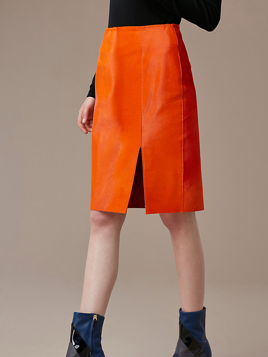 Fitted Calf Hair Pencil Skirt