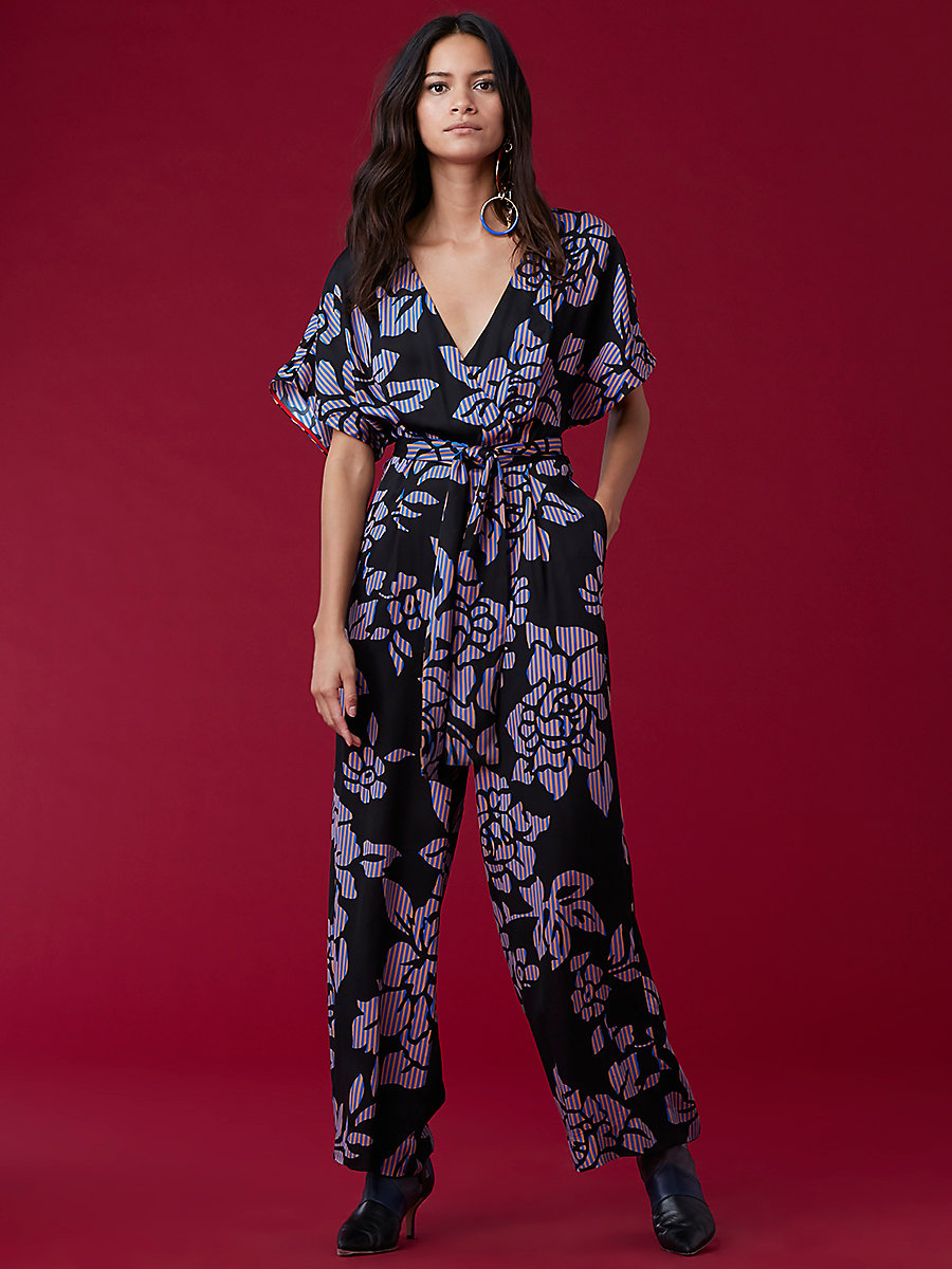 Front Tie Jumpsuit in Bennett Black by DVF