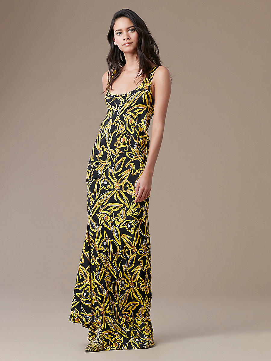 Sleeveless Bias Slip Gown in Elsden Black by DVF