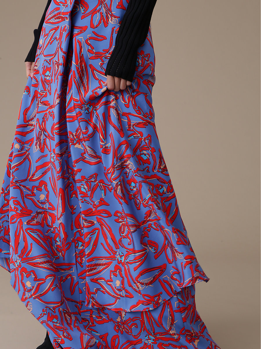 Front Ruffle Maxi Skirt in Elsden Denim by DVF
