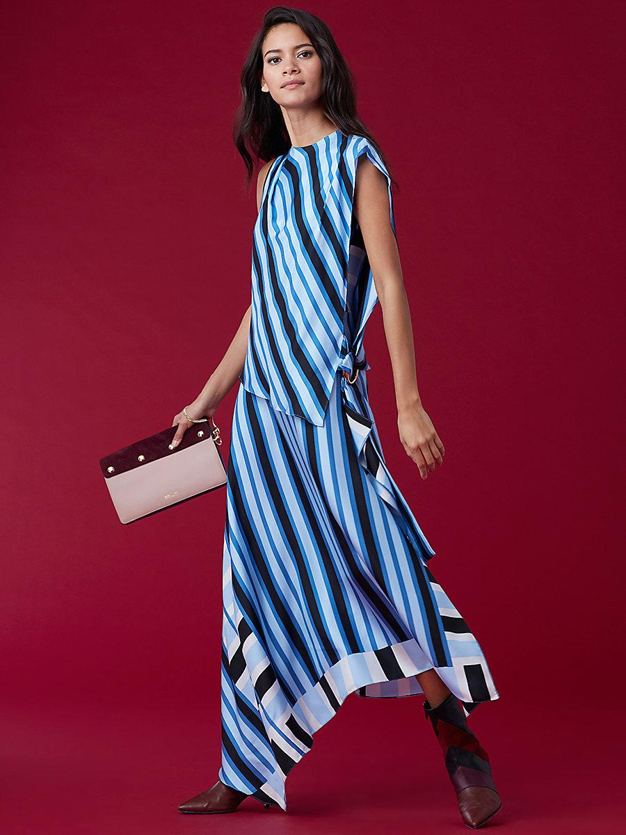 Draped Two Tier Dress in Saxon Stripe Powder by DVF