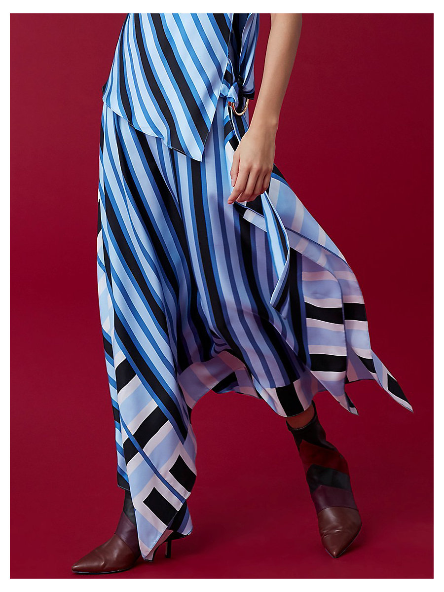 Draped Two Tier Dress in Saxon Stripe Powder by DVF