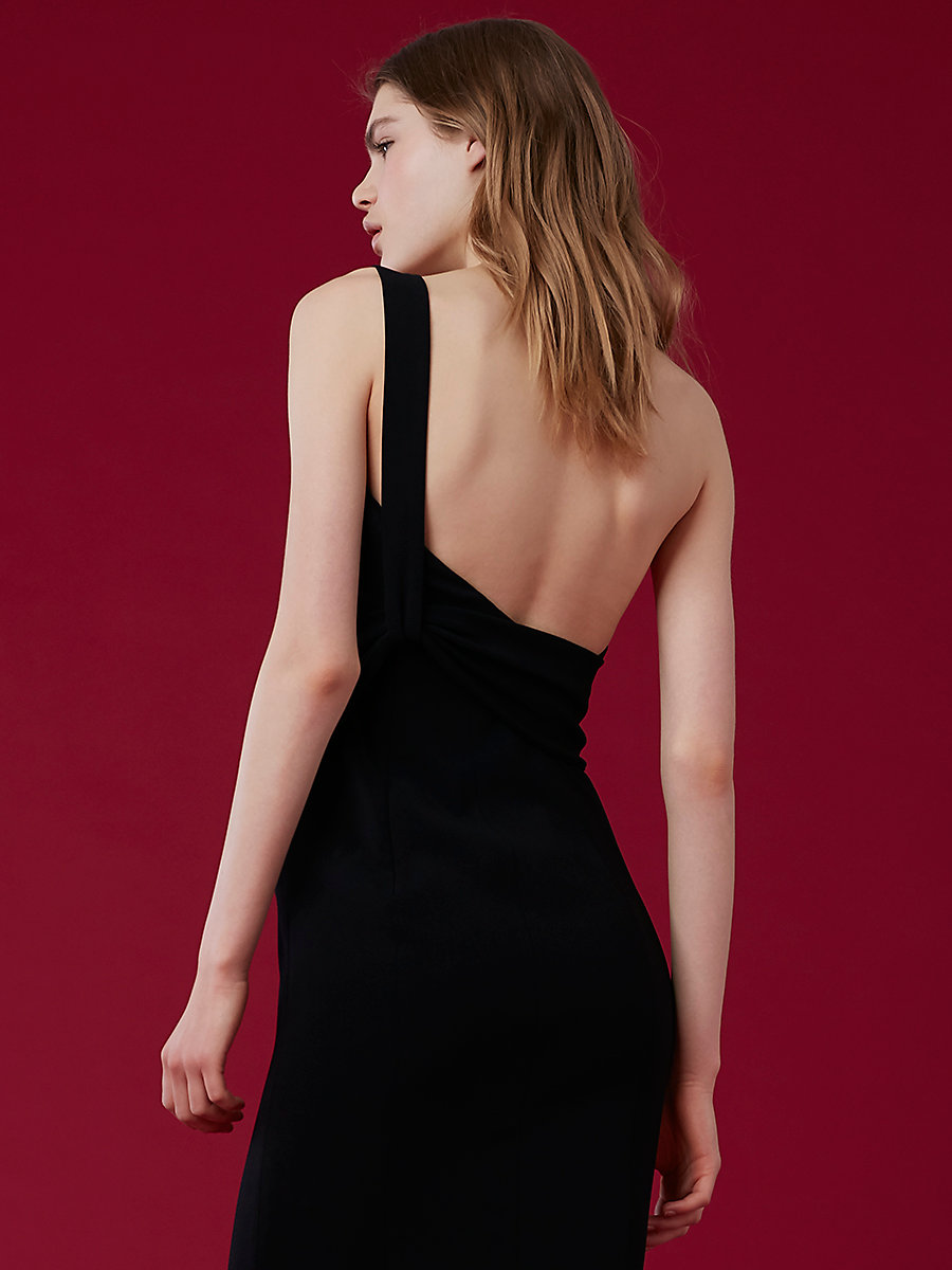 One-Shoulder Fluid Gown in Black by DVF