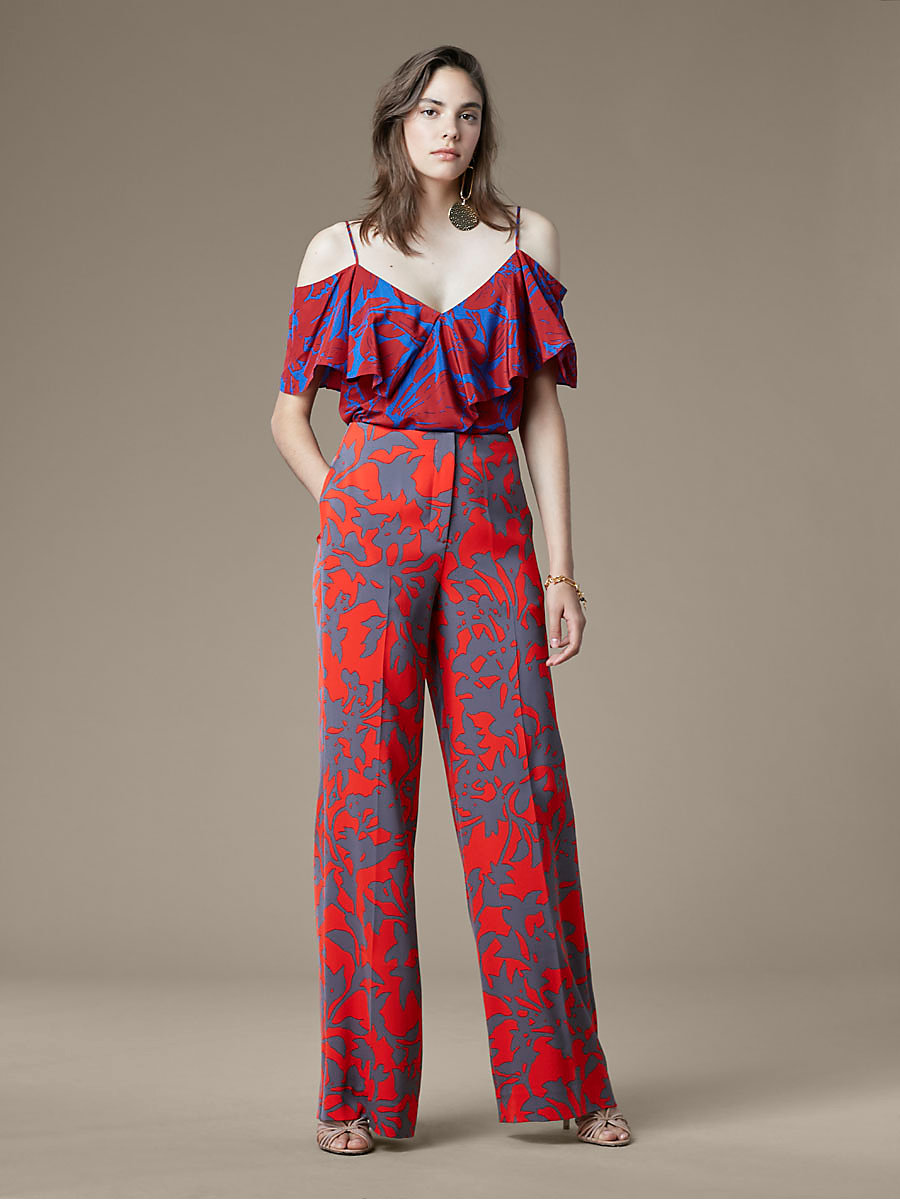 Wide Leg Pant in Brulon Bright Red by DVF