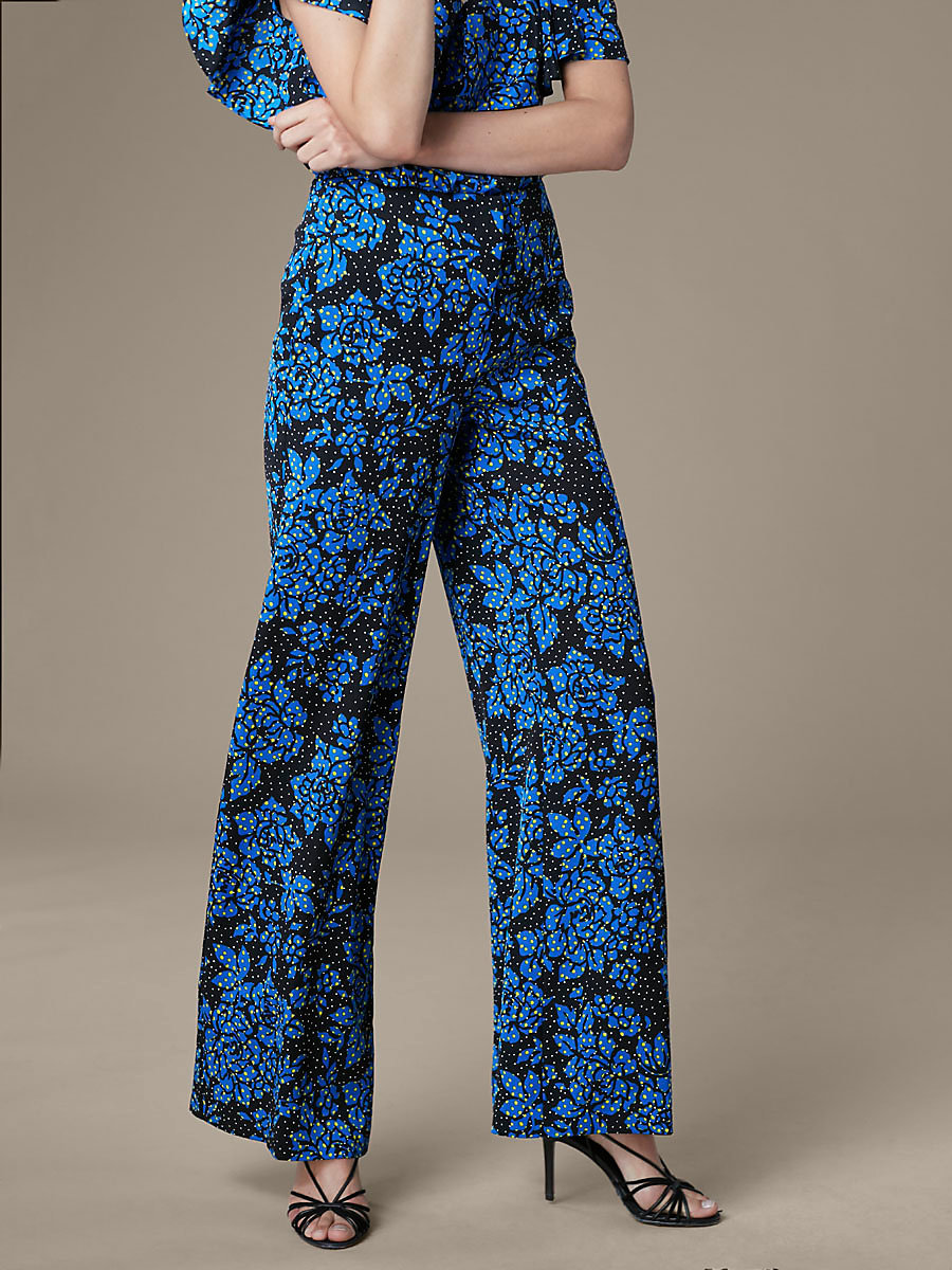 Wide Leg Pant in Callow Black by DVF