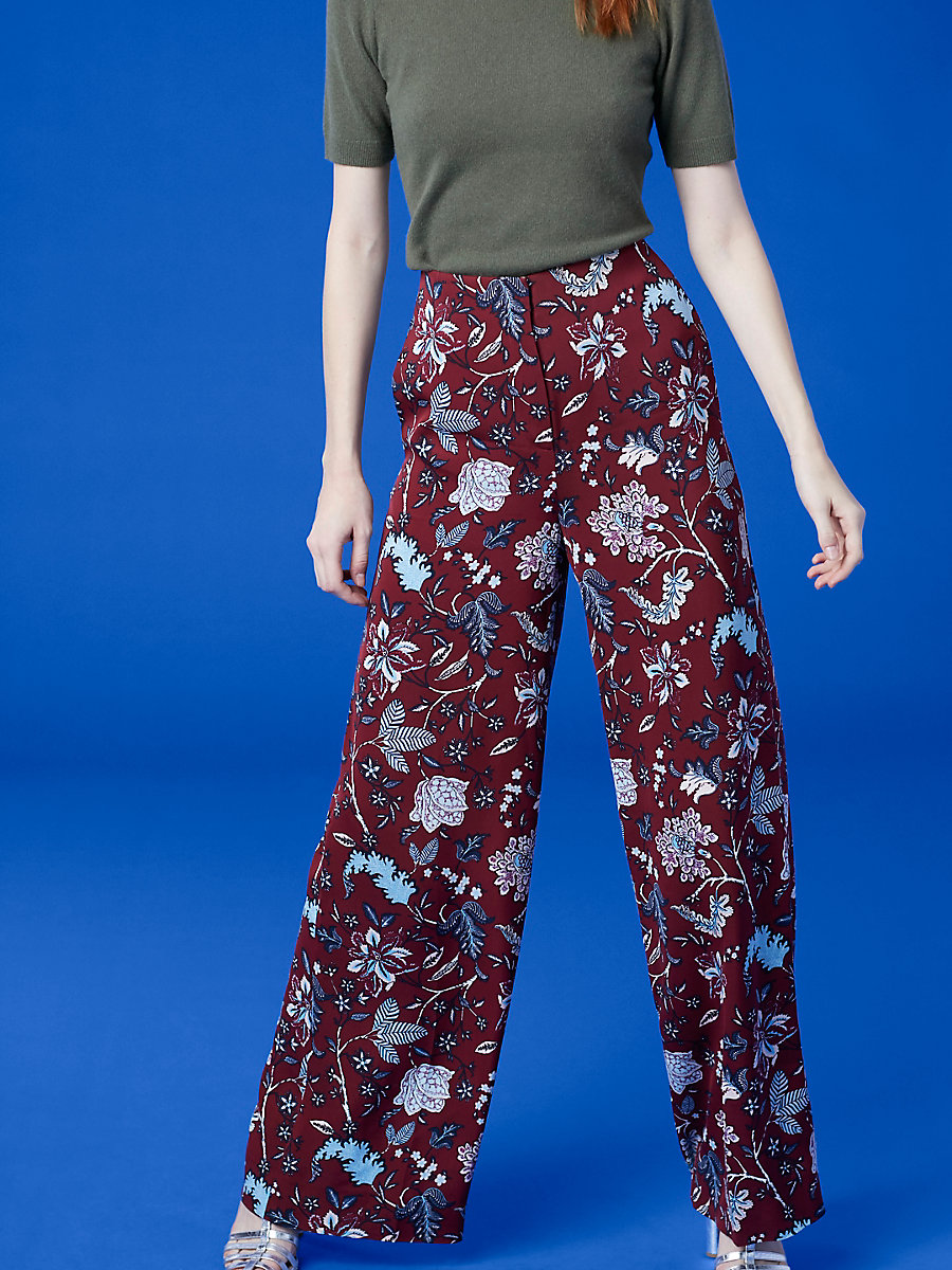 Wide Leg Pant in Canton Bordeaux by DVF