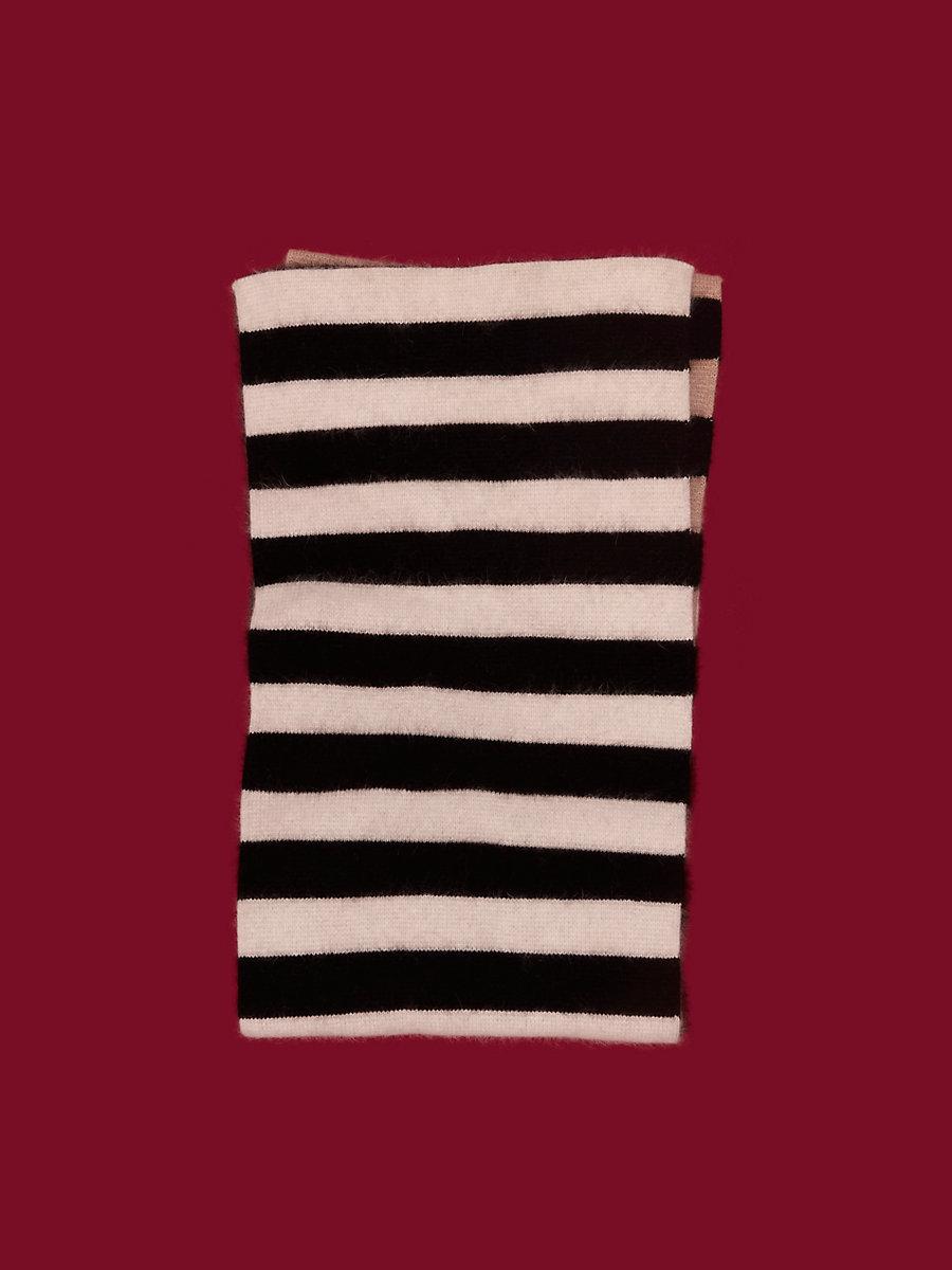 Knit Wrap Scarf in Beige/ Ivory/ Black by DVF