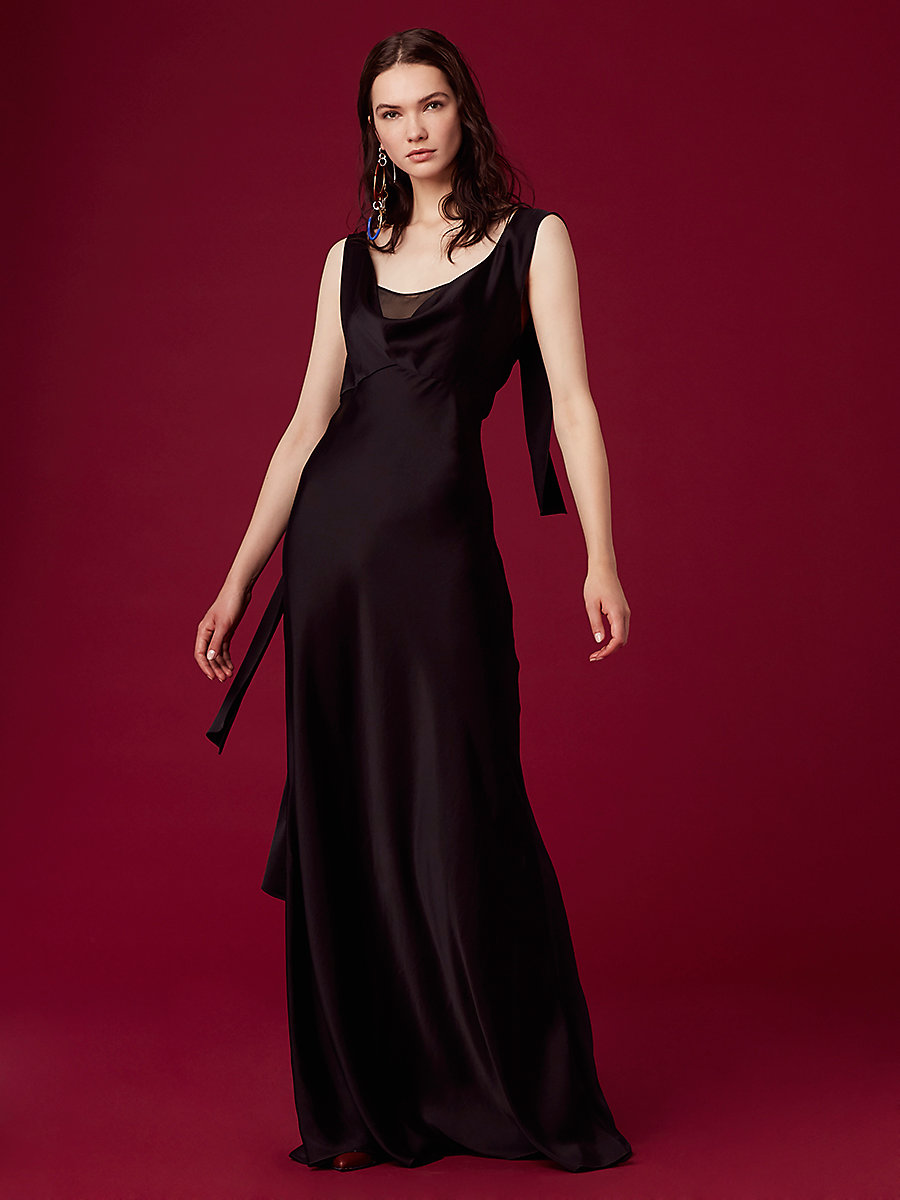 Shoulder Knot Slip Gown in Black by DVF