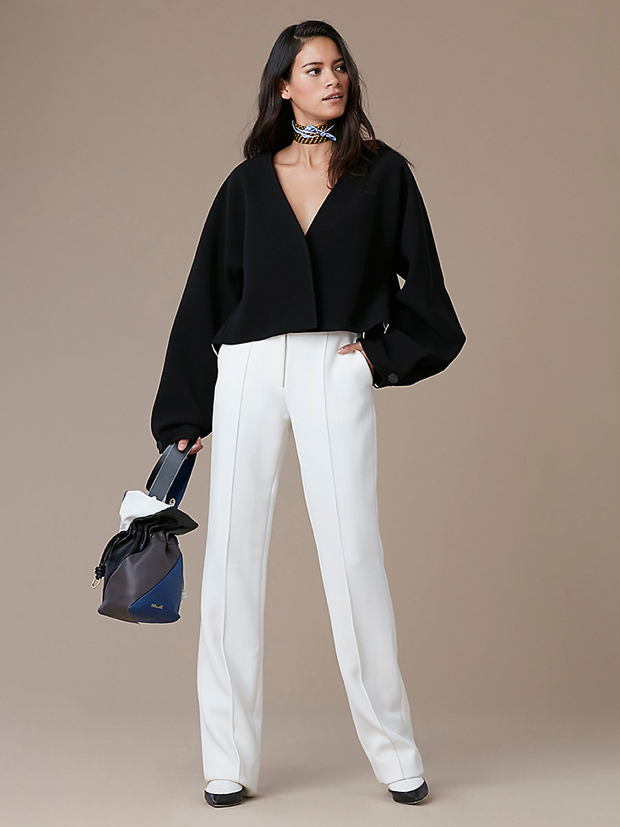 Cropped Button-Up Jacket in Black by DVF