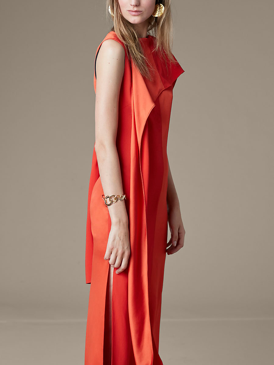 Shoulder Sash Gown in Bright Red by DVF